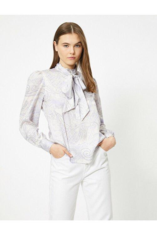 Koton Kadın Uzun Kollu Desenli Fular Detayli Bluz 2
