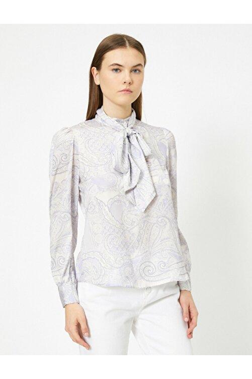 Koton Kadın Uzun Kollu Desenli Fular Detayli Bluz 1