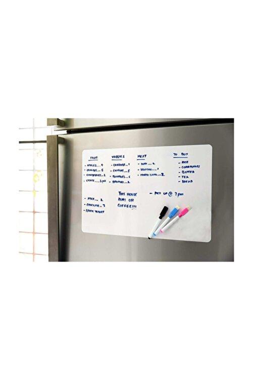 Dünya Magnet Mıknatıslı Manyetik Beyaz Tahta - 50cm x 60cm Katlanabilir Silinebilir Yazı Mesaj Tablosu + 3 Kalem 2