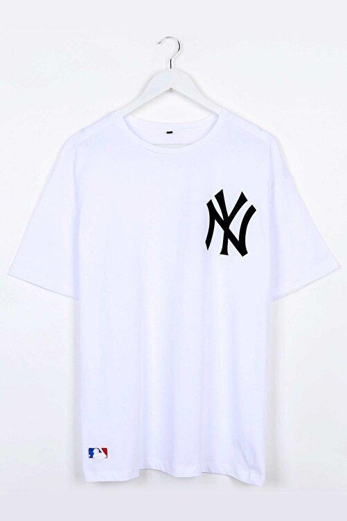 Sekizbiraltı Yankee Baskılı Beyaz Oversize Unisex Tshirt 1