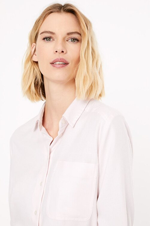 Marks & Spencer Kadın Pembe Yumuşak Dokulu Relaxed Fit Gömlek T43004481 2