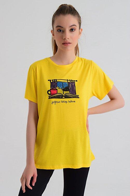 b-fit Kadın T-shirt - Wormie Yağmur-Kitap-Kahve - WRMSYKH 1