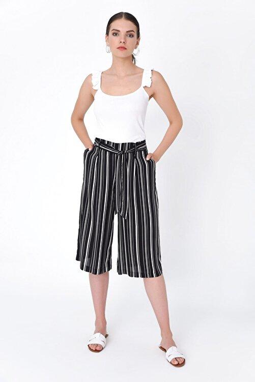 Hanna's by Hanna Darsa Kadın Siyah Çizgili Cepli Ve Kemer Detaylı Pantolon HN2100 1