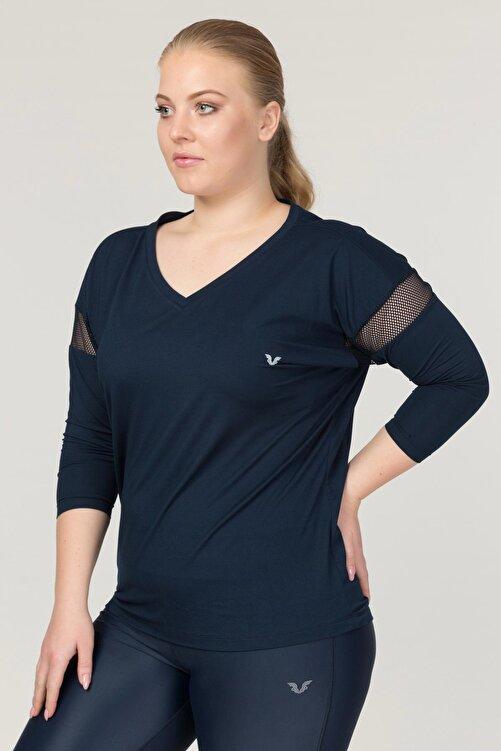 bilcee Büyük Beden Lacivert Kadın Antrenman T-Shirt FS-1769 1