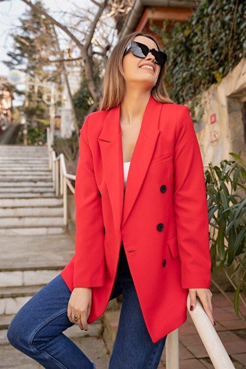Moda Bu Kadın Kırmızı Siyah Düğme Detaylı Blazer Ceket 2