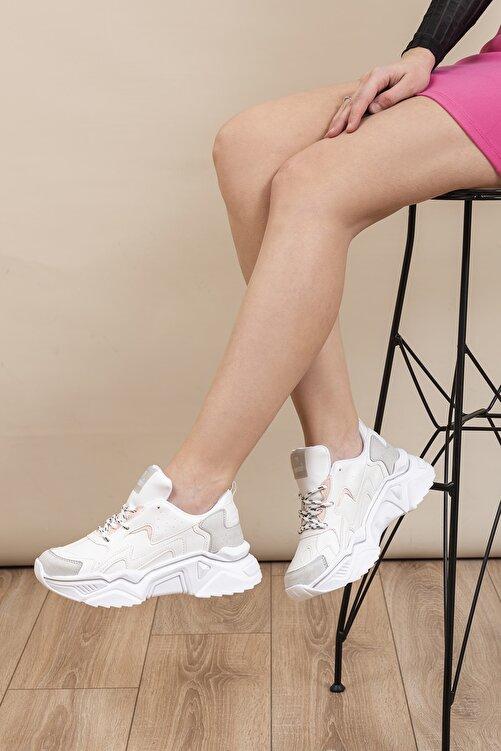 Tonny Black Beyaz Gri Kadın Sneaker DNZ-1 1