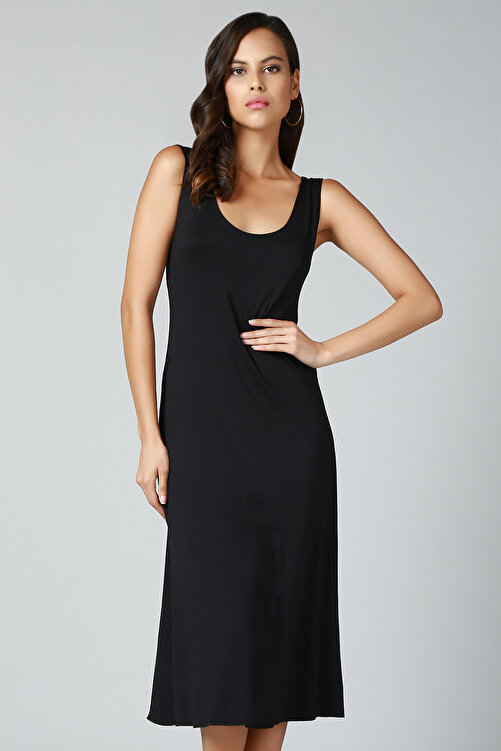 Quincey Kadın Siyah Sırt Detaylı Elbise EB2492 2