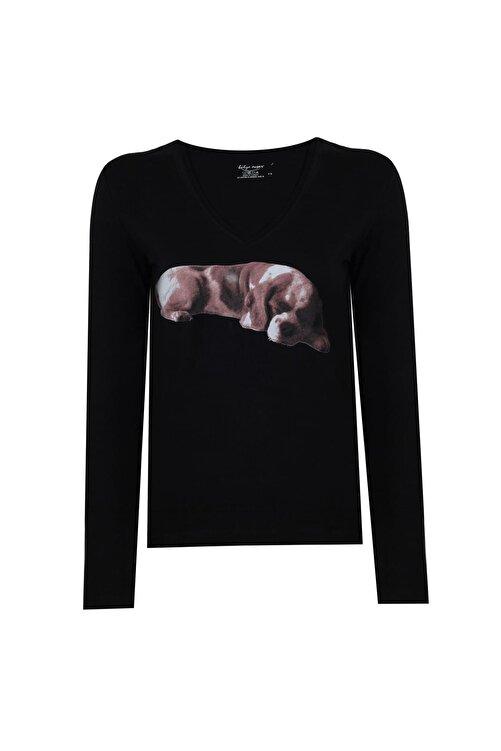 BY H Kadın Narrow Cut Tshirt Uzun Kollu Siyah Köpek Baskılı V Yaka 1