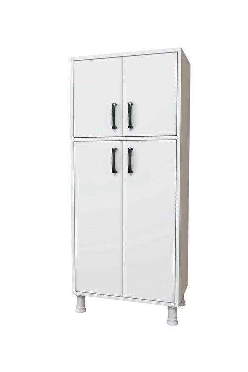 Rani Mobilya F2 Çok Amaçlı Dolap 4 Kapaklı 5 Raflı Banyo Balkon Mutfak Dolabı Beyaz M4 2