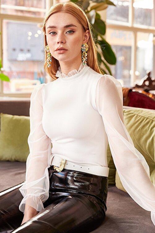 Olalook Kadın Beyaz Yaka Detaylı Kolu Tül Bluz BLZ-19000661 2