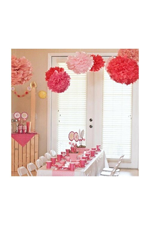 Parti dolabı 1 Adet Mor Ponpon Gramafon Çiçek Kağıt Doğum Günü Parti Süsü 2