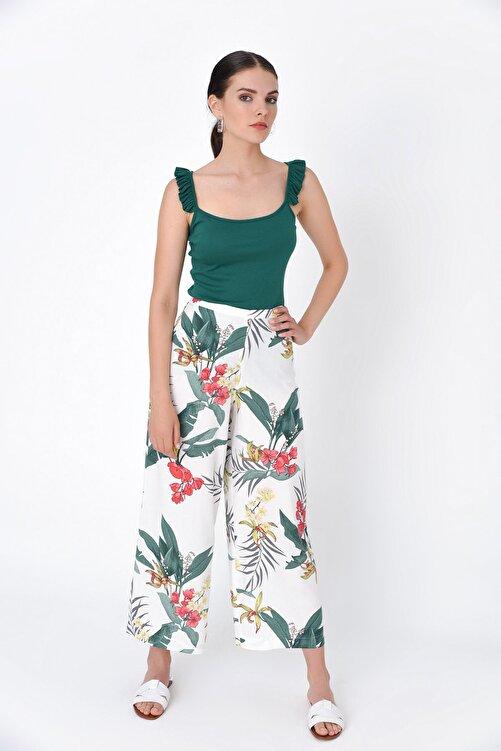 Hanna's by Hanna Darsa Kadın Beyaz Çiçek Desenli Bol Paça Pantolon HN2015 2