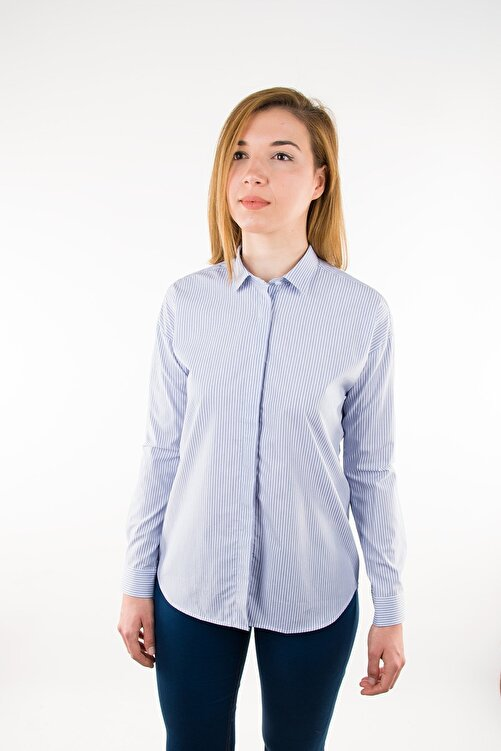 GIZA HOUSE Mavi Çizgili Casual Fit Gömlek 1