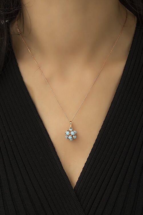Papatya Silver 925 Ayar Gümüş Mavi Top Küre Kolye 2