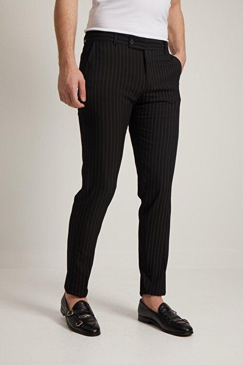 Fc Plus Erkek Siyah Çizgi Desen Klasik Pantolon 2