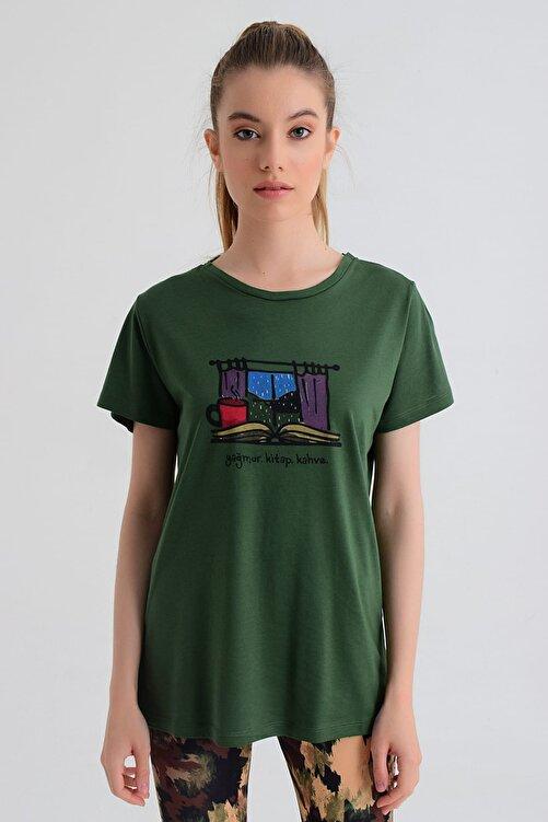 b-fit Kadın T-shirt - Wormie Yağmur-Kitap-Kahve - WRMYYKH 1