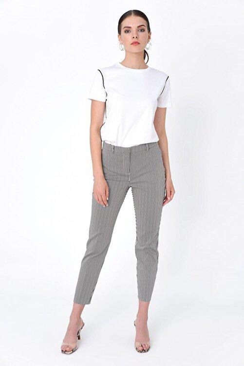 Hanna's by Hanna Darsa Kadın Siyah Beyaz Çizgili Dar Paça Pantolon HN2050 2