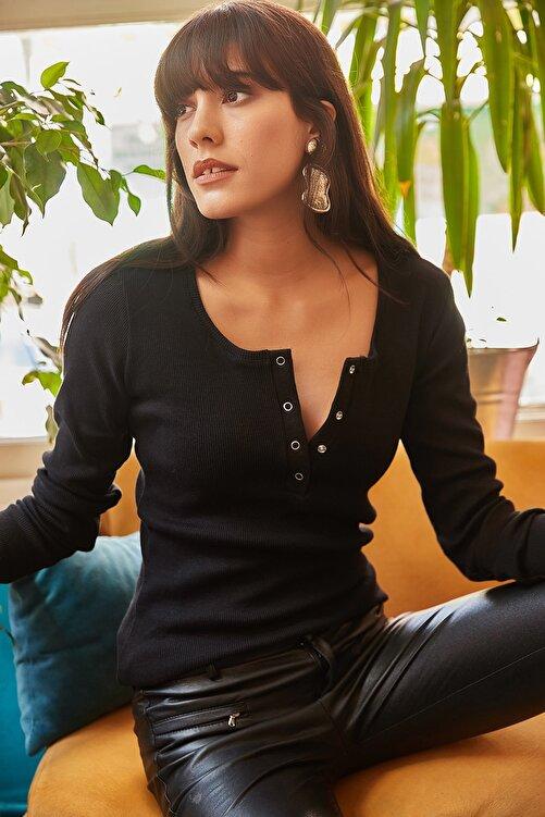 Olalook Kadın Siyah Patlı Kaşkorse Bluz BLZ-19000588 1