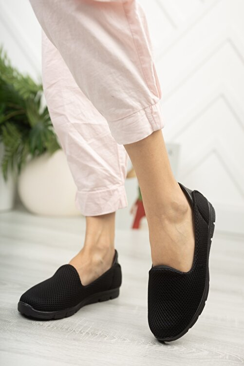 Fogs Kadın Siyah Rahat Hafif Taban Günlük Ayakkabı Babet 2
