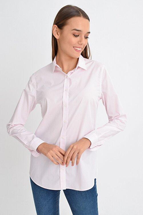 GIZA HOUSE Slim Fit Gömlek Pembe Beyaz Çizgili 2