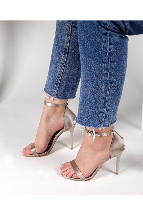 NAZAN AYAKKABI Saten Kumaşlı Ince Bantlı Topuklu Ayakkabı 1