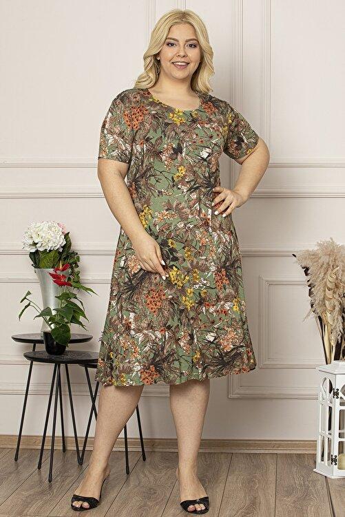 Osyoumoda Büyük Beden Desenli Günlük Likralı Viskon Elbise 1