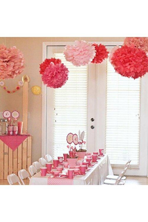 Parti dolabı 1 Ad Açık Pembe Ponpon Gramafon Çiçek Kağıt Doğum Günü Parti Süsü 2