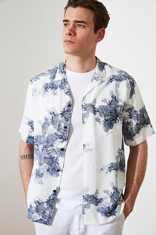 TRENDYOL MAN Çok Renkli Erkek Regular Fit Apaş Yaka Kısa Kollu Gömlek TMNSS21GO0827 1