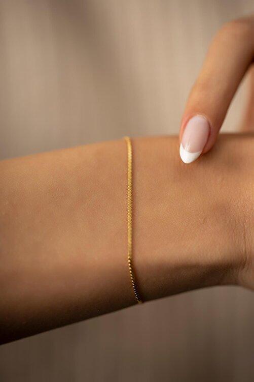 İzla Design Kadın Tilki Kuyruğu Model Altın Kaplama Gümüş İtalyan Bileklik PKT-TLYSLVR0408 1