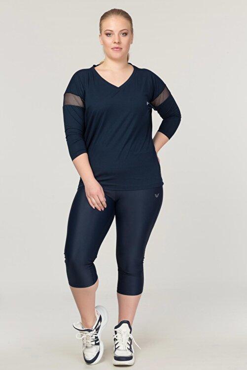 bilcee Büyük Beden Lacivert Kadın Antrenman T-Shirt FS-1769 2