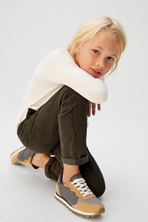MANGO Kids Donuk Yeşil Erkek Çocuk İnce Fitilli Kadife Düz Kesim Pantolon 53035757 1