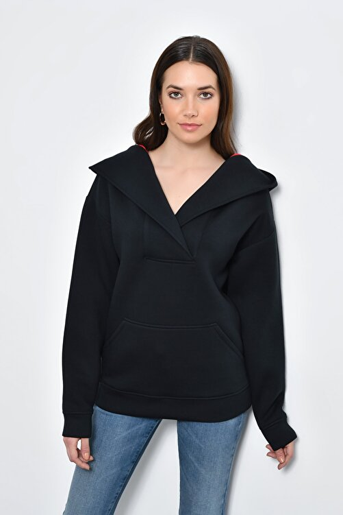 Hanna's by Hanna Darsa Kadın Siyah Kapüşon Detaylı Kanguru Cepli Sweatshirt HN365 1