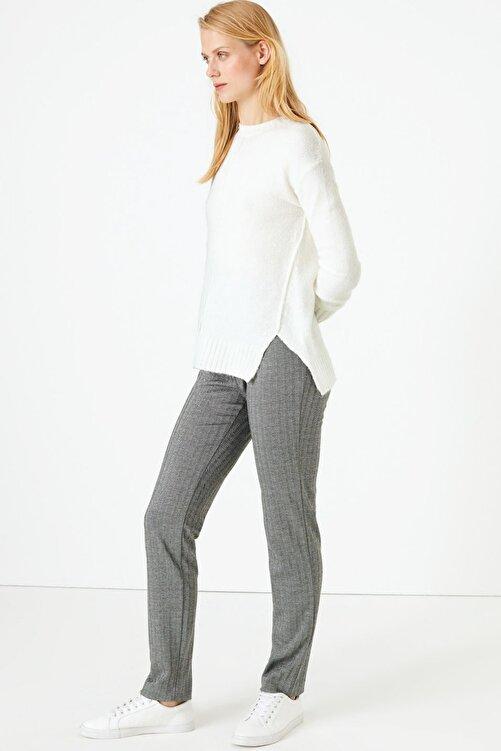 Marks & Spencer Kadın Siyah Kazayağı Desenli Slim Fit Pantolon T59005595 1