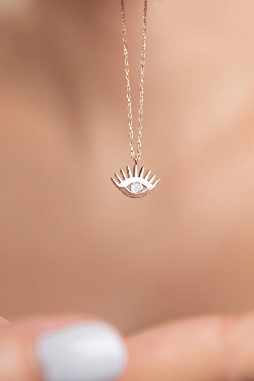 Papatya Silver 925 Ayar Rose Altın Kaplama Gümüş Tek Taş Göz Kolye 2