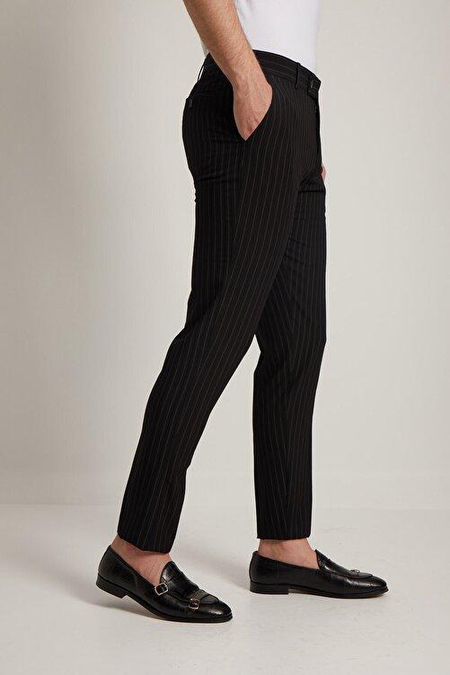 Fc Plus Erkek Siyah Çizgi Desen Klasik Pantolon 1