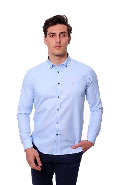 Diandor Uzun Kollu Slim Fit Erkek Gömlek A.Mavi/L.Blue 1812020 1
