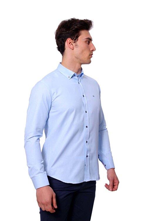 Diandor Uzun Kollu Slim Fit Erkek Gömlek A.Mavi/L.Blue 1812020 2