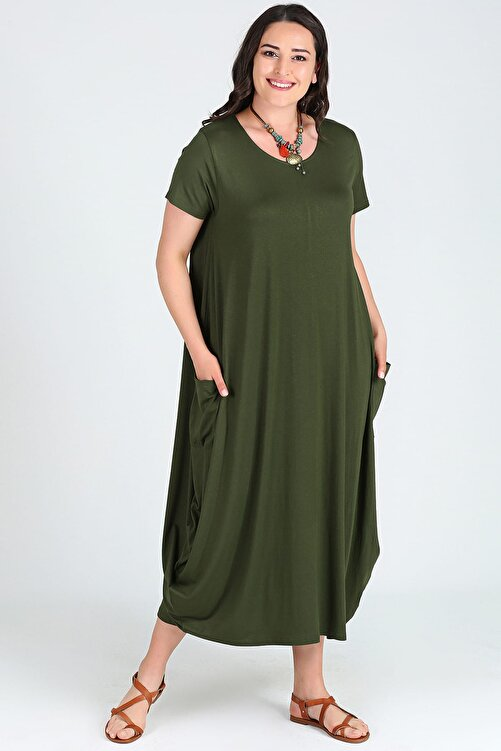 Moda Cazibe Kadın Kısa Kol Jumbo Elbise M9139 1