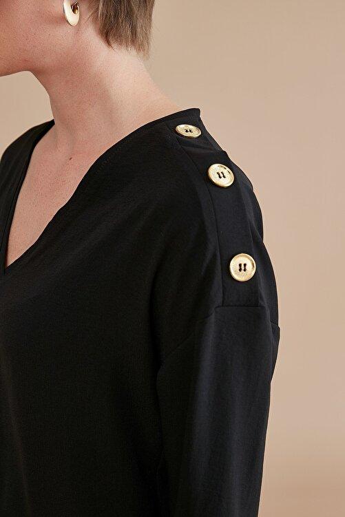 Journey Kadın Siyah V Yaka Omuz Üstü Gold Düğme Detaylı Truvakar Kol Bluz 19KBLZ137 2