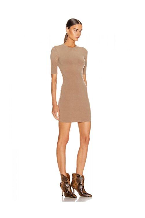 By Umut Design Kısa Kollu Ipek Jarse Nude Elbise 2