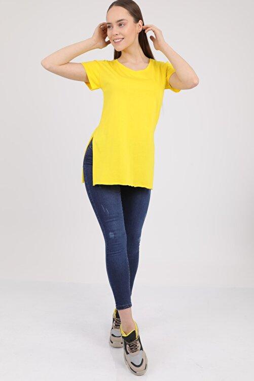 MD trend Kadın Sarı V Yaka Yırtmaçlı Kısa Kol Pamuklu T-Shirt Mdt3025 1