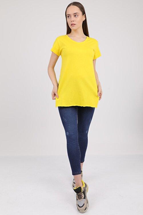 MD trend Kadın Sarı V Yaka Yırtmaçlı Kısa Kol Pamuklu T-Shirt Mdt3025 2