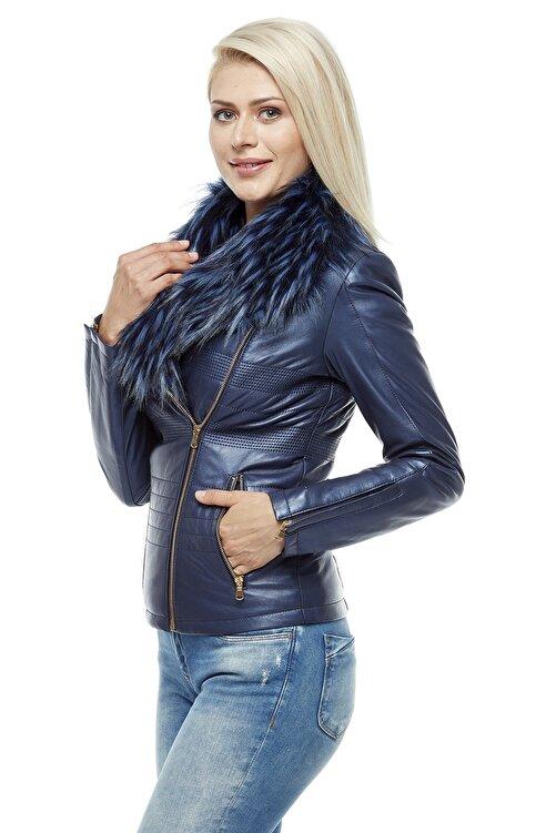 Deriza Kadın Gece Mavi Deri Ceket 3205 2