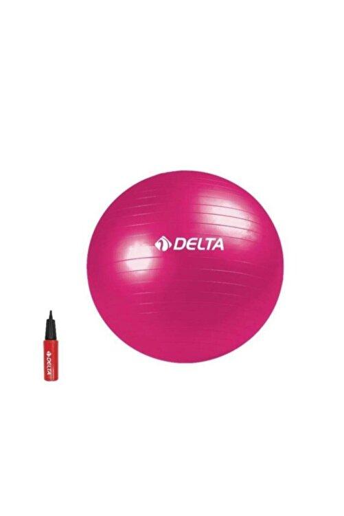 Delta Fuşya Deluxe Pilates Topu + 25 cm Çift Yönlü Pompa 65 cm 1