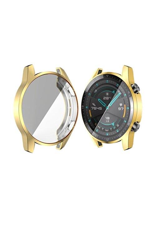 Ally Huawei Watch Gt 2 46mm 360 Koruma Ultra Ince Silikon Kılıf - Gold 1