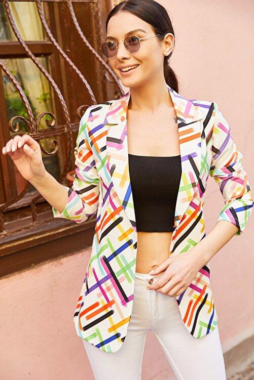 armonika Kadın Beyaz Renkli Çizgili Tek Düğmeli Ceket ARM-20Y001005 2