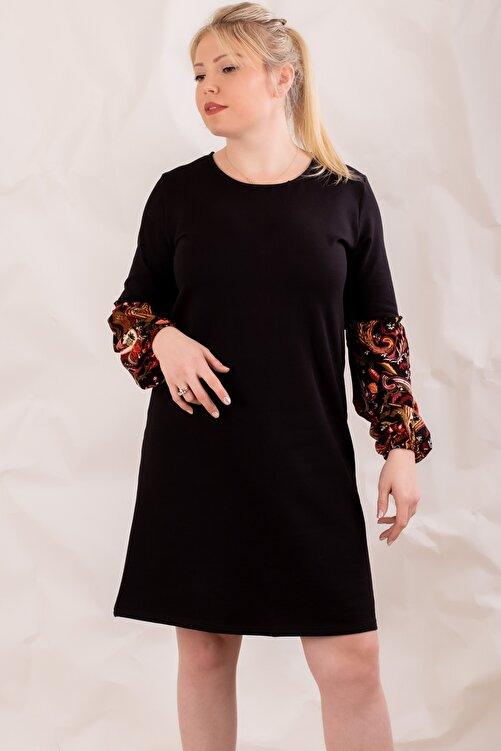 armonika Kadın Siyah Büyük Beden Kolu Renkli Balonlu Elbise 1