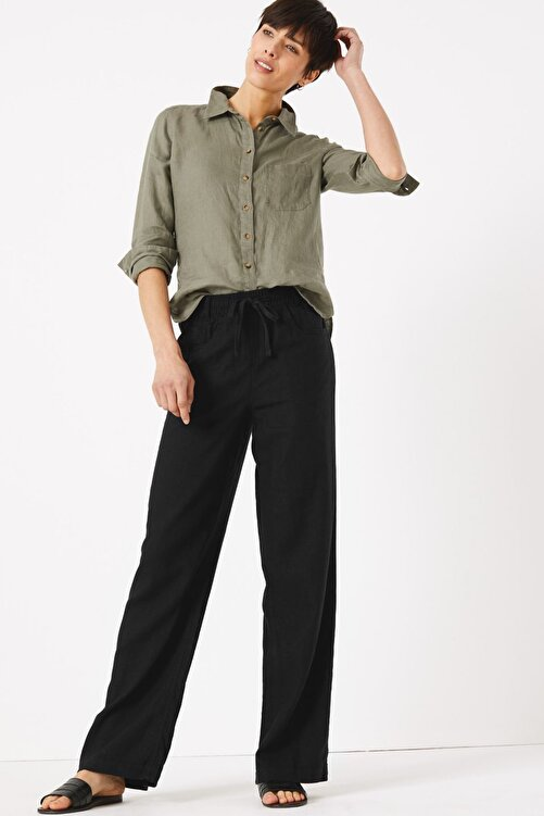 Marks & Spencer Kadın Siyah Keten Wide Leg Pantolon T57007127 1