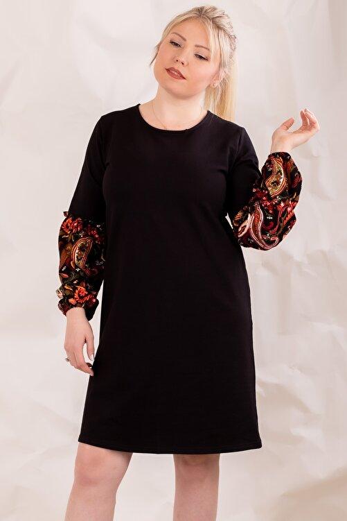 armonika Kadın Siyah Büyük Beden Kolu Renkli Balonlu Elbise 2