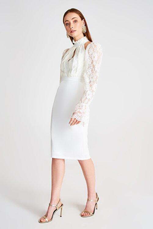 TRENDYOLMİLLA Ekru Dantel Detaylı Elbise TPRSS19UT0067 2
